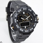 Digitec Collection DA-5015MD47P266 - Dual Time Rubber Strap-Black Gold