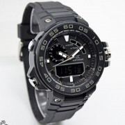 Digitec Collection DA-5015MD47P266-Dual Time Rubber Strap-Black Grey