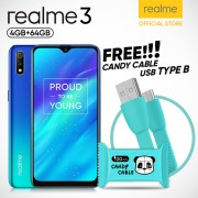 Realme 3 [3GB/64GB] Free Candy USB Cable Fast Charger Type B - Garansi