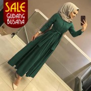 Long Dress Wanita – Maxi – Aahana /105| MAXI ARETHA Hijau BOTOL