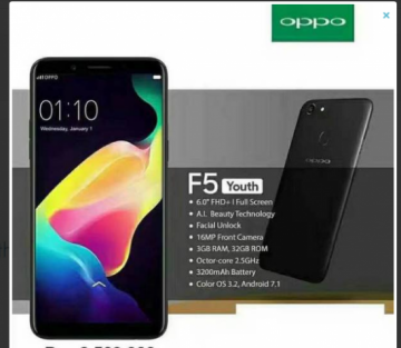 OPPO F5 YOUTH by Cyber Phone on Pasarwarga
