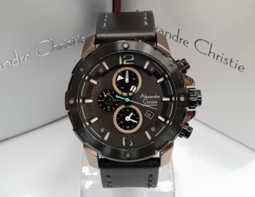 Jam Tangan Pria Alexandre Christie AC 6410 Black Brown Original