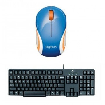 Logitech Mouse Wireless M187 Mini Biru + Logitech Keyboard K100 Combo