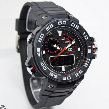 Digitec Collection DA-5015MD47P266 Dual Time Rubber Strap-Black Red