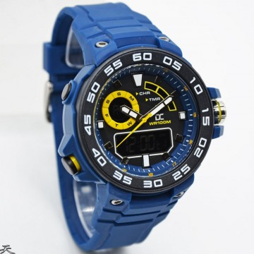 Digitec Collection DA-5015MD47P266 Dual Time Rubber Strap-Blue Yellow