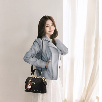 Yijiani Plaid Pattern Metal Alloy Women Handbag With I Love Cony Penda