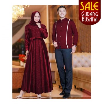 Baju Couple Muslim – Baju Pesta – Aahana /155 | COUPLE NAILA MAROON